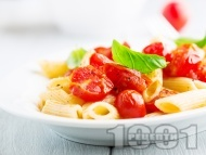 Лесна паста (макарони) с чери домати, чесън, зехтин и босилек